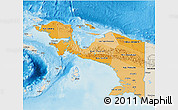Political Shades 3D Map of Irian Jaya, shaded relief outside