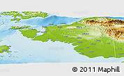 Physical Panoramic Map of Kab. Sorong