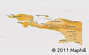 Political Shades Panoramic Map of Irian Jaya, cropped outside