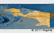 Political Shades Panoramic Map of Irian Jaya, darken