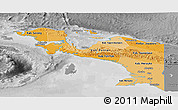 Political Shades Panoramic Map of Irian Jaya, desaturated