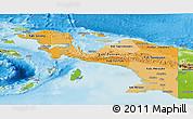 Political Shades Panoramic Map of Irian Jaya, physical outside