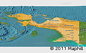 Political Shades Panoramic Map of Irian Jaya, satellite outside