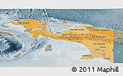 Political Shades Panoramic Map of Irian Jaya, semi-desaturated