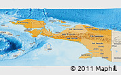 Political Shades Panoramic Map of Irian Jaya, shaded relief outside