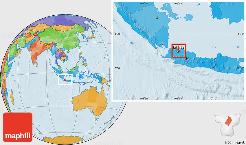 Political Location Map of Kodya. Jakarta Pusat