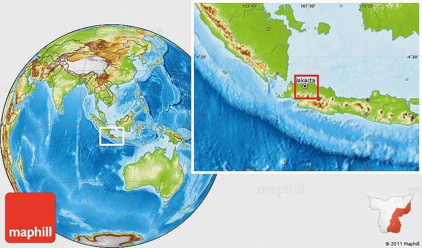 Physical Location Map of Kodya. Jakarta Selatan
