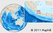 Shaded Relief Location Map of Kodya. Jakarta Utara