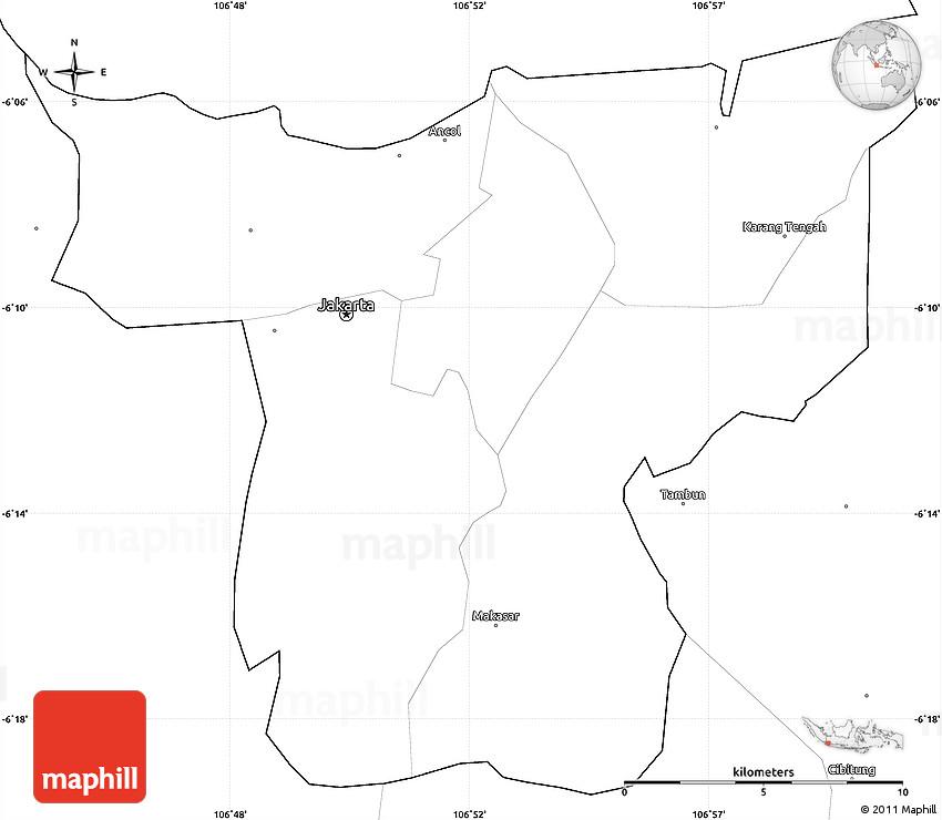 blank simple map of jakarta