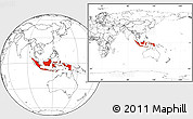 Blank Location Map of Indonesia, within the entire continent
