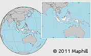 Blank Location Map of Indonesia, gray outside