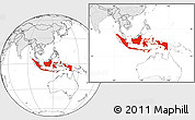 Blank Location Map of Indonesia, highlighted continent