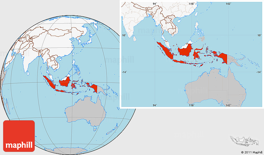 Gray Location Map of Indonesia, highlighted continent