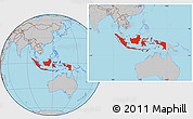 Gray Location Map of Indonesia