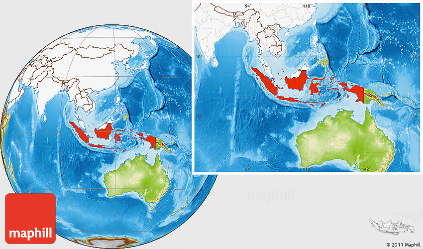 Physical location map of indonesia highlighted continent 2d gumiabroncs Choice Image