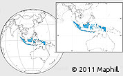 Political Location Map of Indonesia, blank outside