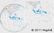 Political Location Map of Indonesia, lighten, desaturated
