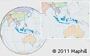 Political Location Map of Indonesia, lighten
