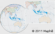 Political Location Map of Indonesia, lighten, semi-desaturated