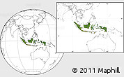 Satellite Location Map of Indonesia, blank outside