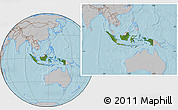 Satellite Location Map of Indonesia, gray outside, hill shading