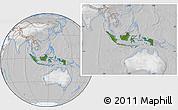 Satellite Location Map of Indonesia, lighten, desaturated