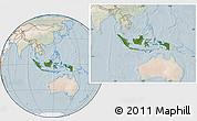 Satellite Location Map of Indonesia, lighten