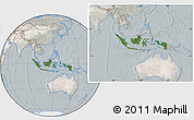 Satellite Location Map of Indonesia, lighten, semi-desaturated