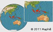 Satellite Location Map of Indonesia