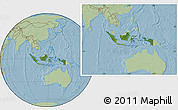 Satellite Location Map of Indonesia, savanna style outside, hill shading
