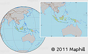 Savanna Style Location Map of Indonesia, gray outside