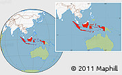 Savanna Style Location Map of Indonesia, highlighted continent