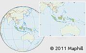Savanna Style Location Map of Indonesia, lighten