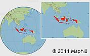 Savanna Style Location Map of Indonesia