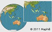 Savanna Style Location Map of Indonesia, satellite outside