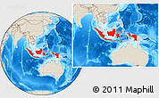 Shaded Relief Location Map of Indonesia