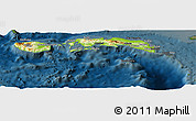 Physical Panoramic Map of Kab. Maluku Tengah, darken