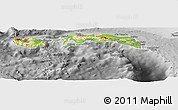Physical Panoramic Map of Kab. Maluku Tengah, desaturated