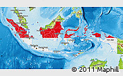 Flag Map of Indonesia, physical outside