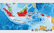 Flag Map of Indonesia, political shades outside
