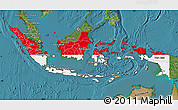 Flag Map of Indonesia, satellite outside