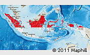 Flag Map of Indonesia, shaded relief outside