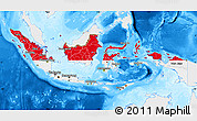Flag Map of Indonesia, single color outside, bathymetry sea