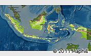 Physical Map of Indonesia, darken