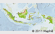 Physical Map of Indonesia, lighten
