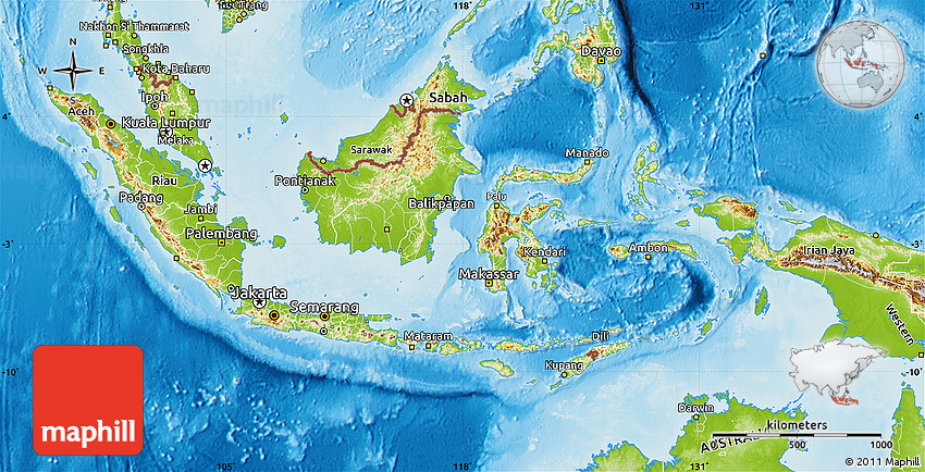 Physical Map of Indonesia