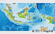 Physical Map of Indonesia, political outside, shaded relief sea