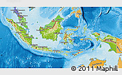 Physical Map of Indonesia, political shades outside, shaded relief sea