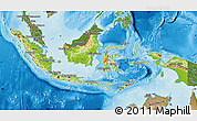 Physical Map of Indonesia, satellite outside, shaded relief sea