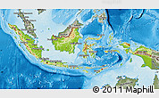 Physical Map of Indonesia, semi-desaturated, land only